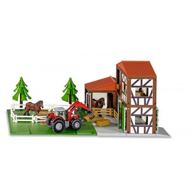 SIKU World - Stáj s koňmi a traktorem