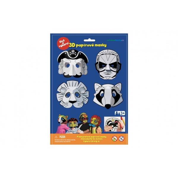 Maska Maska papierowa 3D 4szt pirat, superbohater, lew, szop