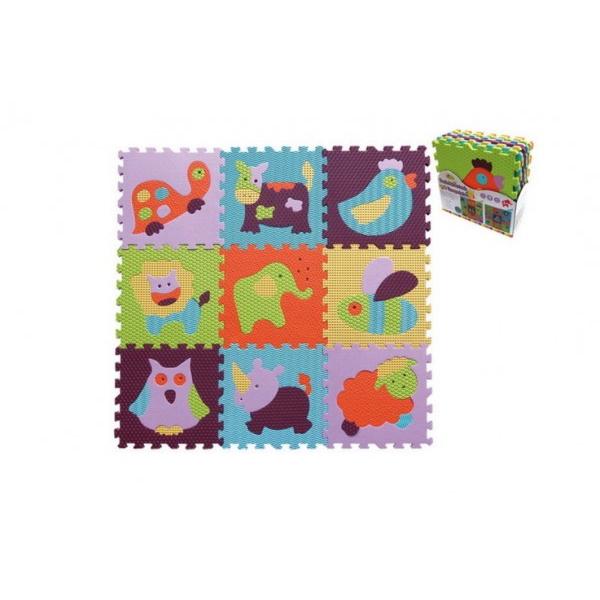 Pěnové puzzle zvířátka asst mix barev 9ks 32x32x1cm