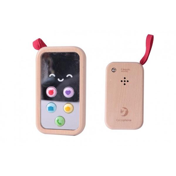 Telefón Mobil drevo 11cm na batérie so zvukom v krabičke 8x12x4cm 10m +