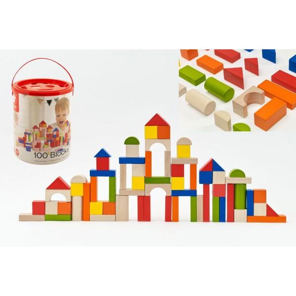 Kostky stavebnice dřevo 100ks + vkládačka v papírovém kbelíku 22x27x22cm 12m+