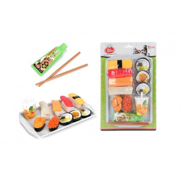 Zestaw plastikowych potraw do sushi z deską do krojenia i akcesoriami