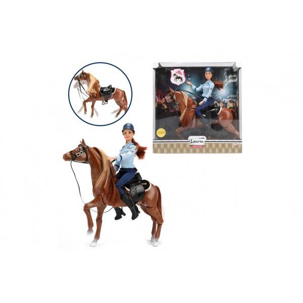 Lalka policyjna przegubowa 30 cm na koniu z siodłem