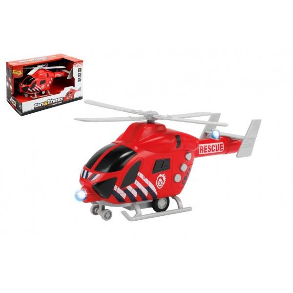 Strażacy helikopter 20 cm plastik na kole zamachowym na baterii ze światłem