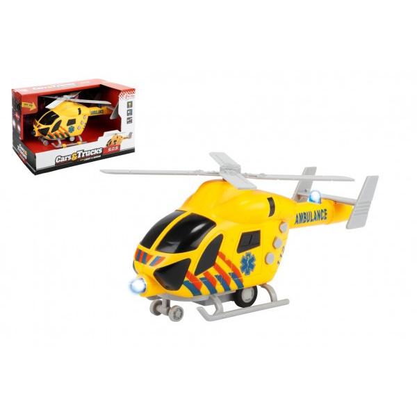 Helikopter ratowników 20cm plastik na kole zamachowym na baterii z lampką z dźwiękiem