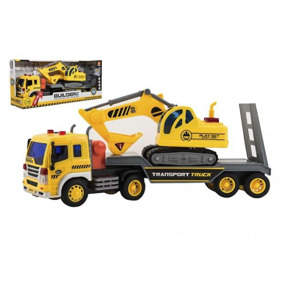 Kamion s přepravníkem 38 cm plast s bagrem na setrvačník