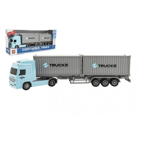 Kamión s kontajnermi plast 33cm na zotrvačník na batérie so svetlom so zvukom