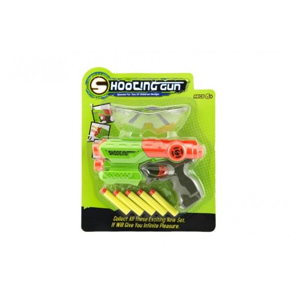 Pištoľ 21cm na penové náboje 5ks plast 2 farby na karte