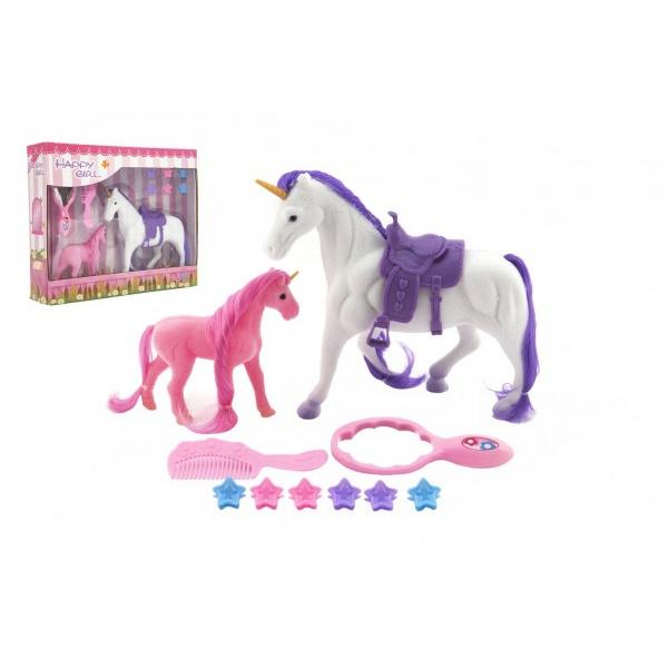Jednorožec kôň česacia sa sedlom s žriebätkom flíska plast s doplnkami v krabici 29x24x7cm