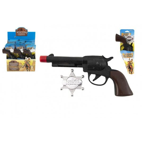 Pištoľ / Kolt Klapač + šerifská hviezda kovboj plast 20cm na karte 12ks v boxe