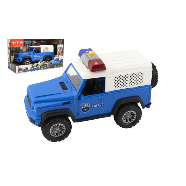 Auto polícia terénne plast 23cm na zotrvačník na batérie so svetlom so zvukom v krabici 28x16x12cm