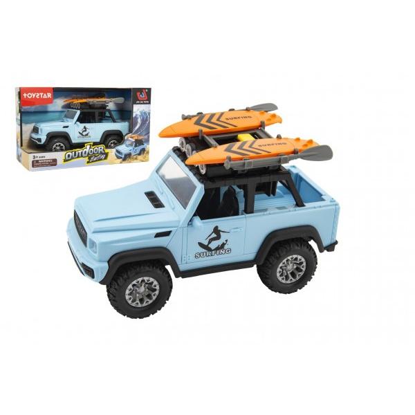 Auto terénní Camping plast 22cm na setrvačník na baterie se světlem se zvukem v krabici 28x18x12cm