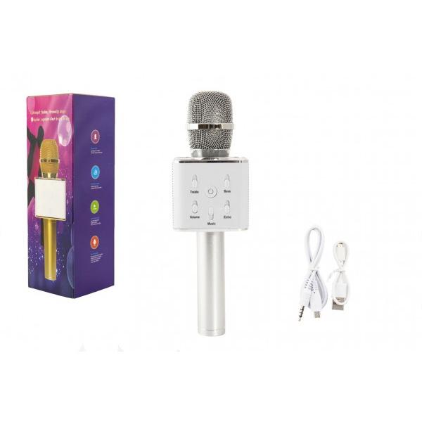 Mikrofón karaoke strieborný plast 25cm na batérie s USB káblom v krabici 8,5x26x8,5cm