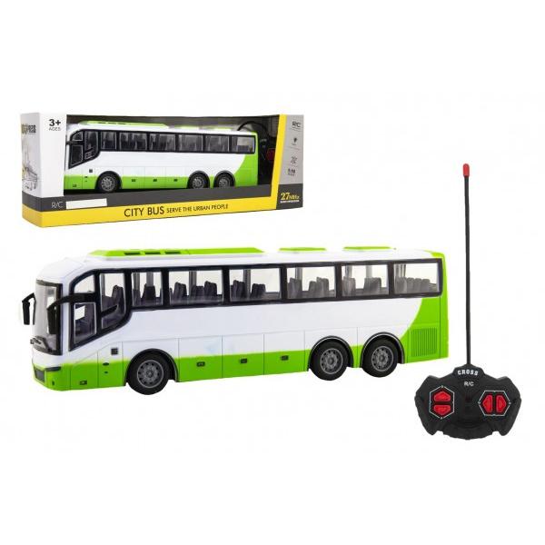 Autobus RC na dálkové ovládání plast 27MHz 32cm na baterie se světlem v krabici 42x15x11cm