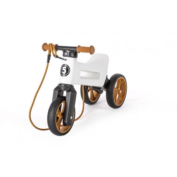 Odrážadlo FUNNY WHEELS Rider SuperSport biele 2v1 + popruh, vyššie. sedla 28 / 30cm nos. 25kg 18m + v sáčku