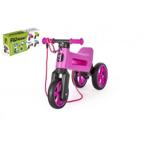 Odrážadlo FUNNY WHEELS Rider SuperSport fialovej 2v1 + popruh, vyššie. sedla 28 / 30cm nos 25kg 18m + v krab.