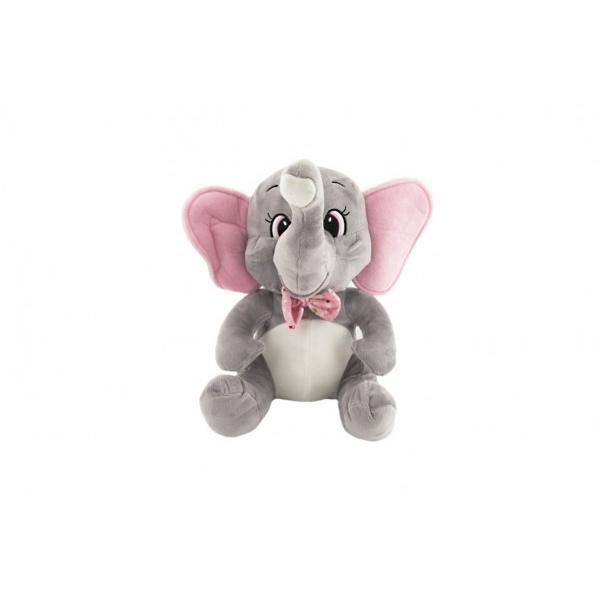 Slon sedící s motýlkem plyš 30cm v sáčku 0+