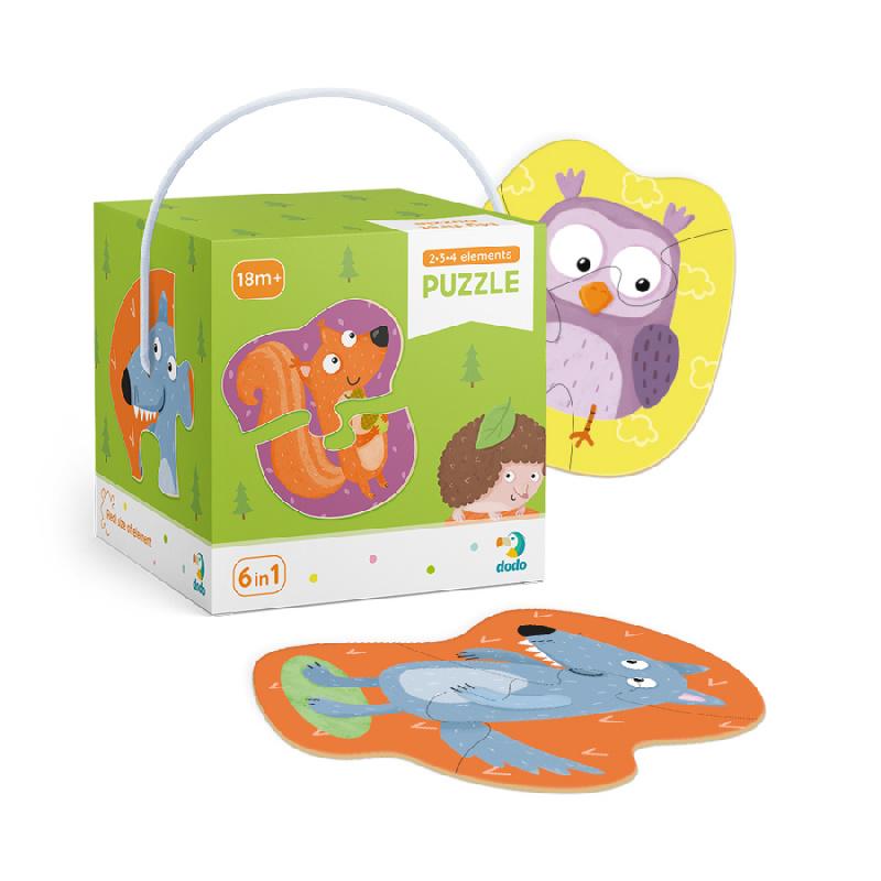 Puzzle 2-3-4 sztuk zwierząt leśnych