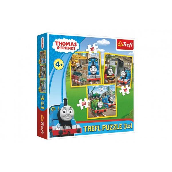 Puzzle 3v1 Mašinka Tomáš / Tomáš ide do akcie 20x19,5cm v krabici 28x28x6cm
