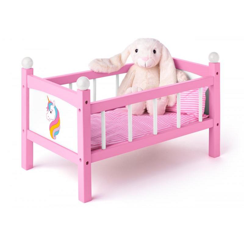 Postýlka pro panenku s peřinkami - Jednorožec