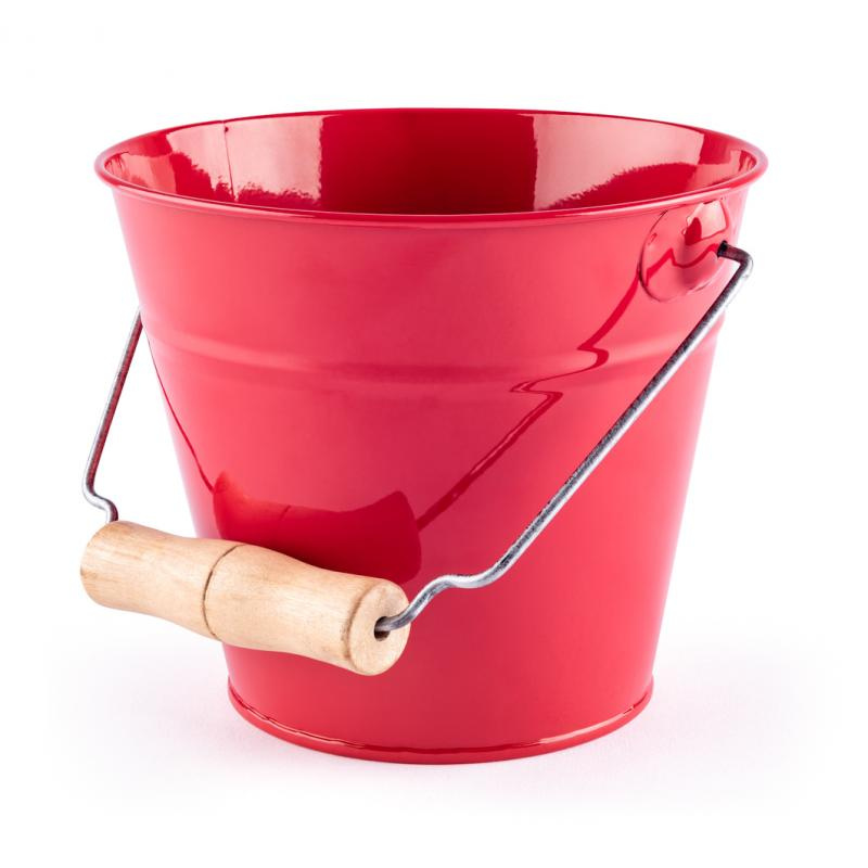 Zahradní kyblík - červený, kov