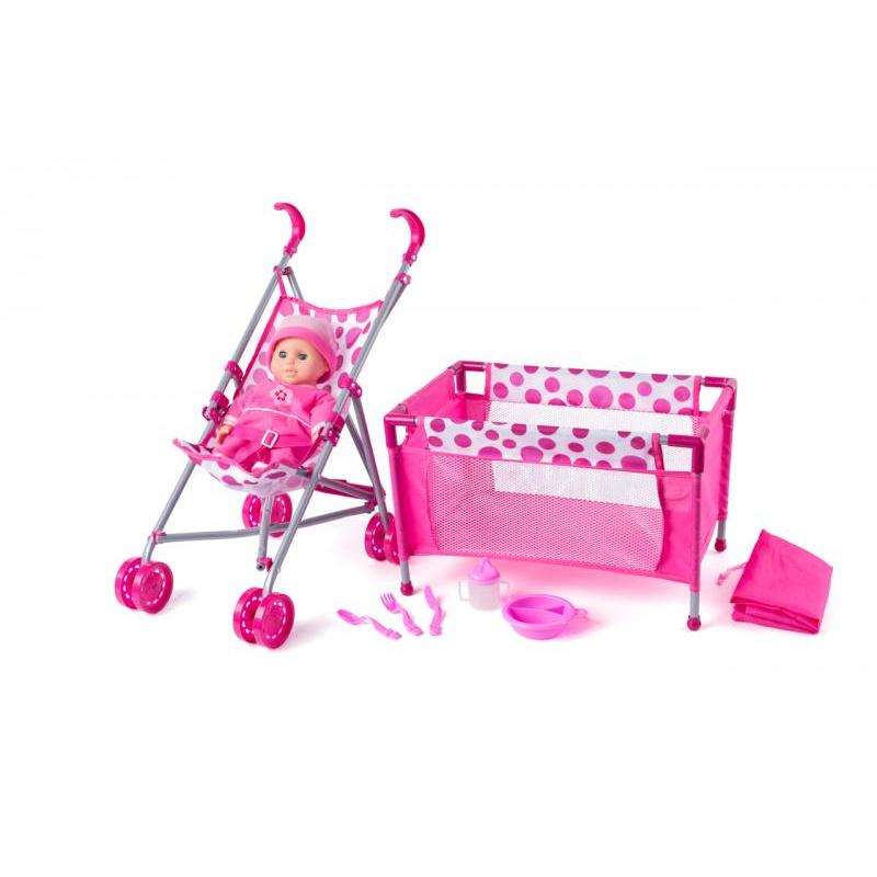 WOODY Zestaw lalka z wózkiem