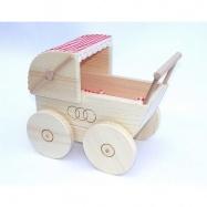 Dřevěné hračky pro holky - Kočárek pro panenky přírodní
