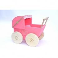 Dřevěné hračky pro holky - Kočárek pro panenky barevný