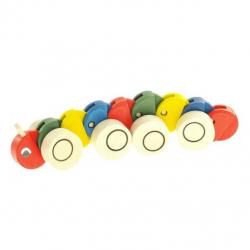 Drevená ťahacie hračka - Húsenica farebná