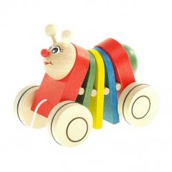 Drevená ťahacia hračka - Húsenica klapací