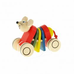 Drevená ťahacia hračka - Myš klapací