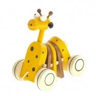 Dřevěná tahací hračka - Žirafa klapací
