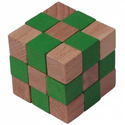 Drevený hlavolam kocka zelená veľké