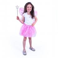 Kostým tutu sukně růžový motýl s hůlkou a křídly