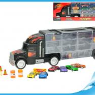 Kamion s úložným prostorem 48cm + 6ks aut 7cm kov a doplňky v krabičce