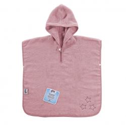 BIO bavlnené froté pončo XKKO Organic - Baby Pink Stars