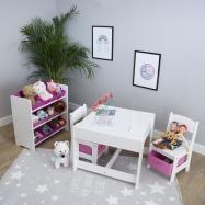 Ourbaby dětský stůl s židlemi s růžovými boxy 23671-0