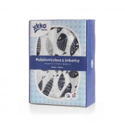 Biobavlněná plienka XKKO Organic 120x120 - Silver Fish