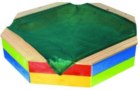 Pískoviště s ochrannou sítí, dřevěné barevné