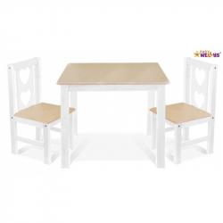 BABY NELLYS Detský nábytok - 3 ks, stôl s stoličkami - prírodný ll., Biela, B / 06