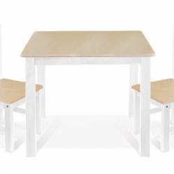 BABY NELLYS Dětský nábytek - 3 ks, stůl s židličkami - přírodní ll., bílá, C/06