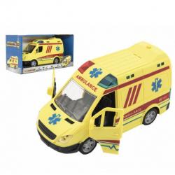 Auto ambulancie plast 20cm na zotrvačník na batérie so zvukom sa svetlom v krabici 26x15x12cm