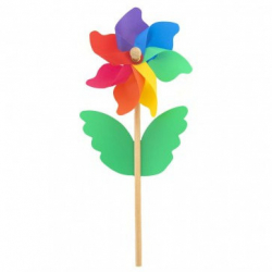 Větrník barevný 38cm dřevo/plast průměr 15cm