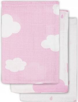 Dětský ručník Jollein 3 ks, 31 x 31 cm Clouds Pink