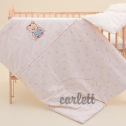 Komplet poszewek na pościel do łóżeczka Miś - beżowy