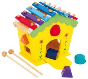 Dřevěný domeček vkládačka a xylofon v 1