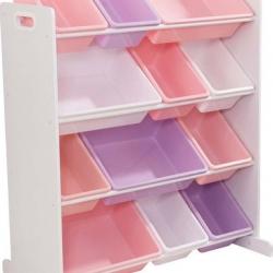 KidKraft Box na hračky - Úložná polica s 12 boxmi ružová