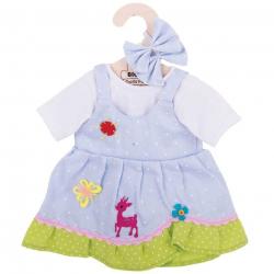 Bigjigs Toys modré bodkované šaty s jeleňom pre bábiku 35 cm