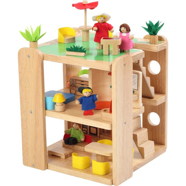 Dřevěný domeček pro panenky s nábytkem Teeny
