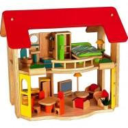 Dřevěný domeček pro panenky s nábytkem Štastný domov